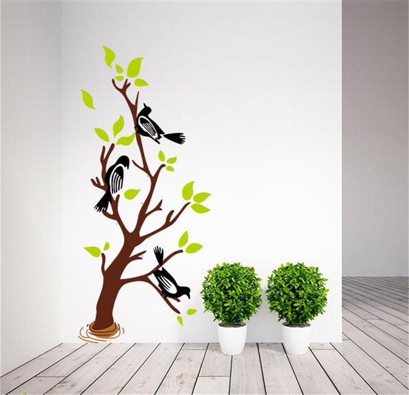 Colorful tree magpie birds wall stickers living room decor for Diy tree wall mural
