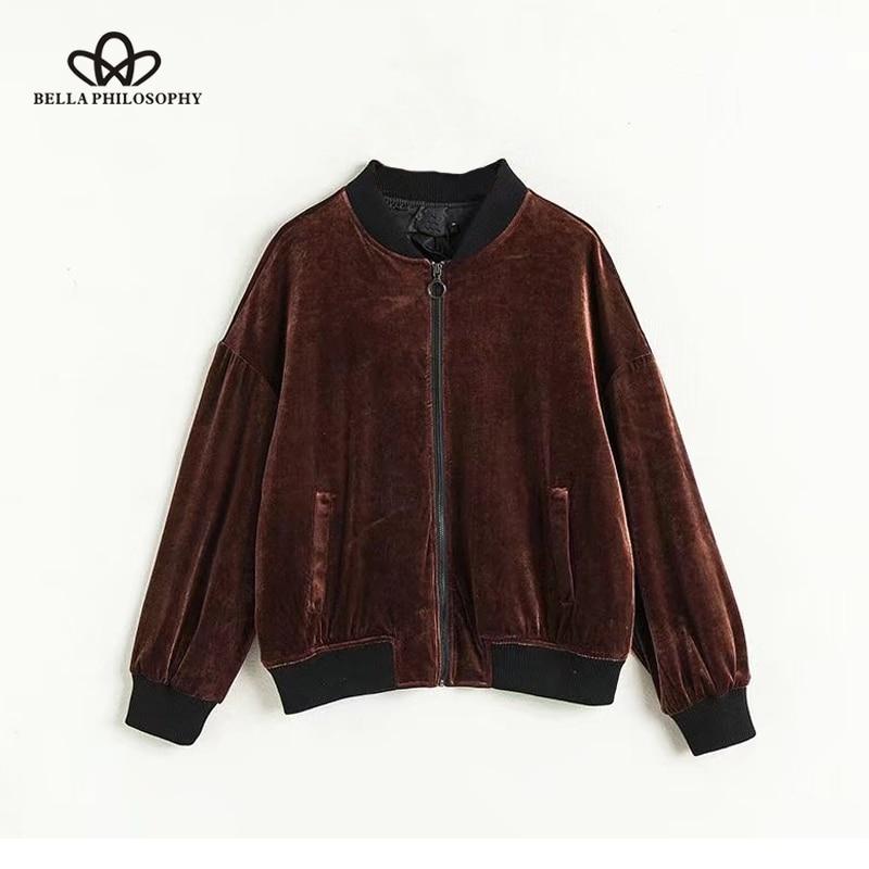 Bella Philosophy 2018 spring streetwear  women  baseball jacket o neck zipper  basic jacket cross lace up velvet no cap jacket