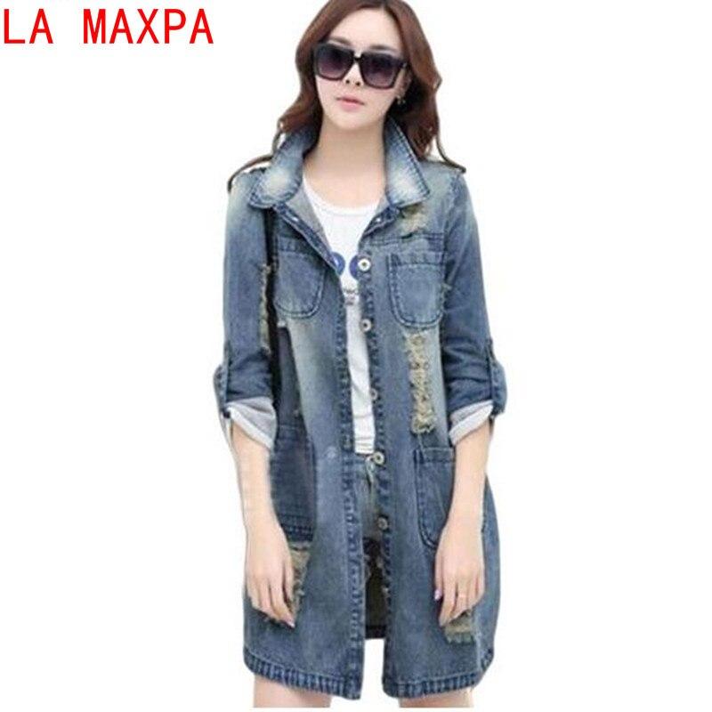 Plus Size 5XL Denim Jacket Women 2019 New Spring Autumn Fashion Long Sleeve Jeans   Coat   Female Casual Ripped Denim Jacket Tops