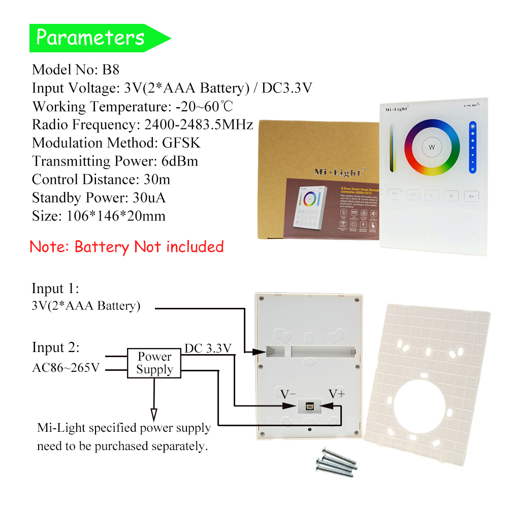 Mi.Light RGB bulbs CCT Remote Controller 2.4G 8 Zone Smart Panel Remote Controller / RGB CCT LED Bulb