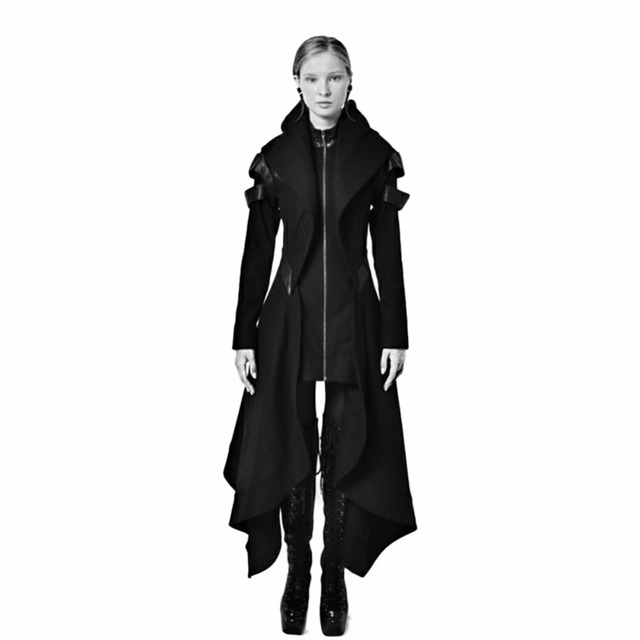 Cool Women Cosplay Coat Irregular Hooded Leather Patchwork