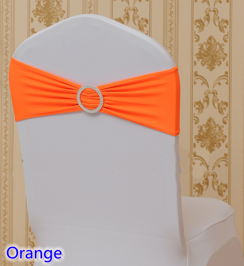 Orange colour on sale chair sash with Round buckles for chair covers spandex band lycra sash bow tie wedding decoration