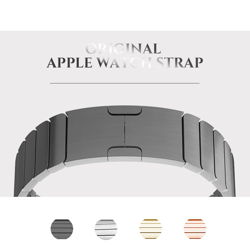 Stainless Steel Original Buckle Metal Strap for Apple Watch band 38mm/42mm adjustable Metal Link Strap for iwatch Series 3 2 1 wristband silicone bands for apple watch 42mm sport strap replacement for iwatch band 38mm classic stainless steel buckle clock