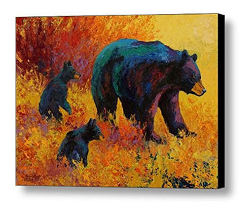 100%Hand Painted Animal Oil Painting Bear Family  Abstract on Canvas for Best Gift Art Work Home Decorations