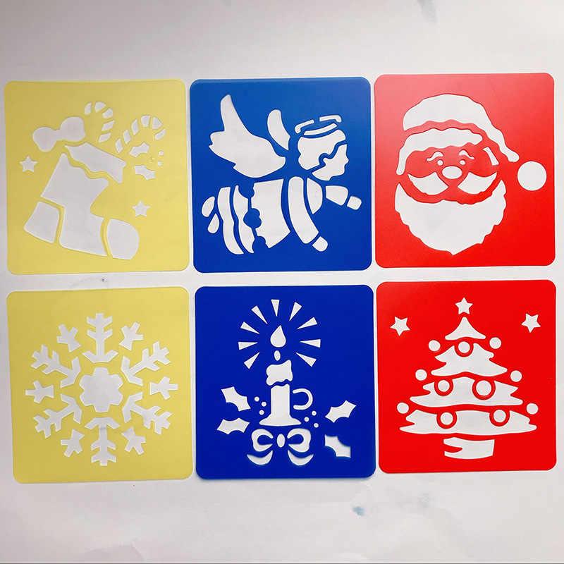 6 pcs Immagine Modello di Disegno Stencil Governanti Di Natale I Bambini di Pittura Fai Da Te Carta di Arte Colorazione Carte Raschiando Giochi di disegno GYH