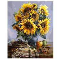 40x50cm SunFlowers Frmaed Picture On Wall Acrylic Oil Painting By Numbers Abstract Drawing By Numbers Unique