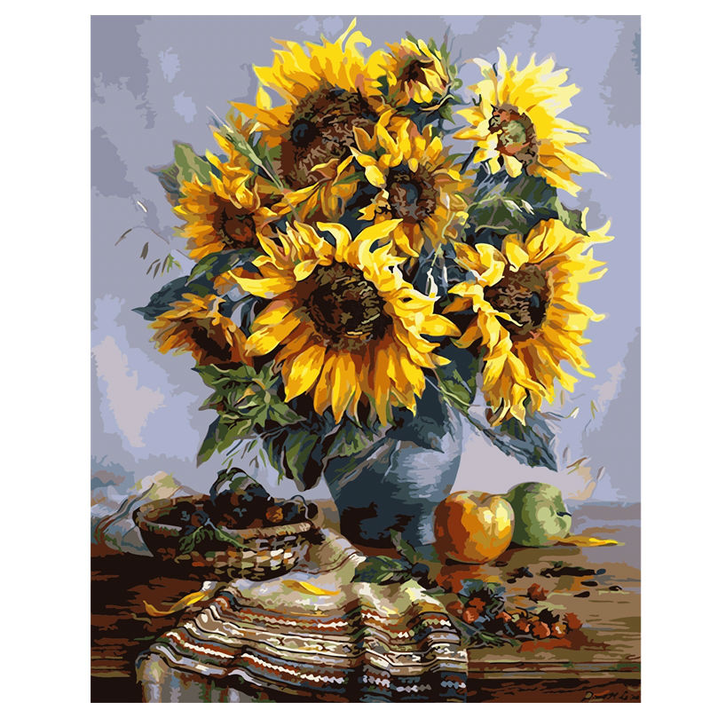 40x50cm Sunflowers Frameless Picture On Wall Acrylic Oil