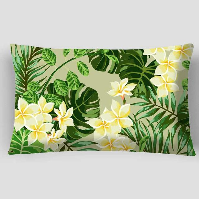 Double Side Print Green Leaves Cushion Picture Artificial Plants