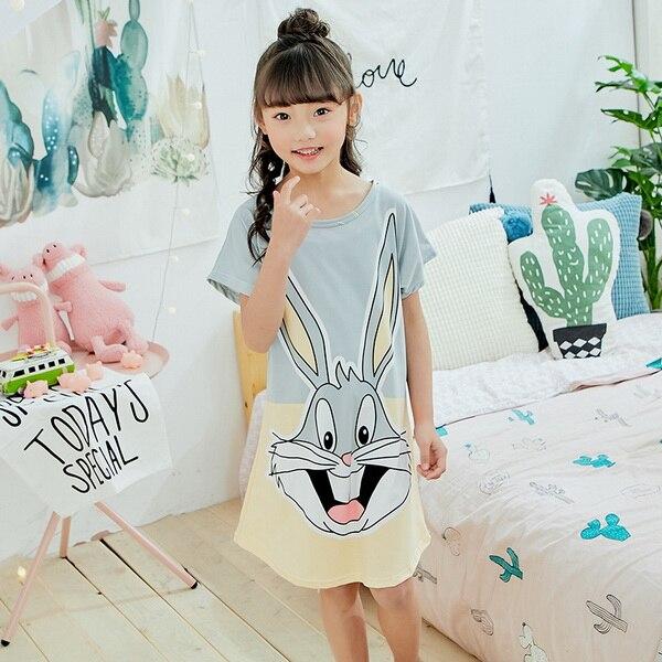 Girls Summer Cartoon Nightgowns Children Short Sleeve Princess Pajamas Kids Sleepwear Clothing Home Dress Homewear Clothes p16