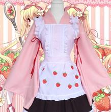 Japanese Anime Women Dresses Candy Maid Pink Strawberry Uniform Princess Lolita Dress Cosplay Costume one size
