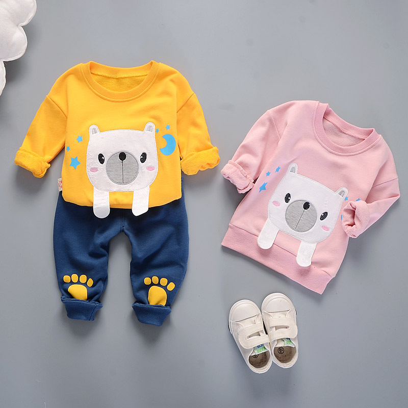 Hot Sales New Born Baby Spring Autumn Clothes Set for Boys Girls Kids Cartoon Print Long Sleeve Pullovers+ Pants 2Pcs Sport Suit