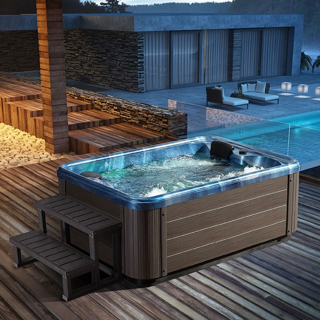 Hot sale 3 People Spa Tubs made in China deluxe outdoor whirlpool Villa hot  tub Sunscreen and anti cracking Acrylic outdoor tub