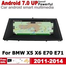 цена на 2G+16G Android 7.0 up Car radio GPS multimedia player For BMW X5 X6 E70 E71 2011~2014 CIC Navigation HD screen WiFi BT Bluetooth