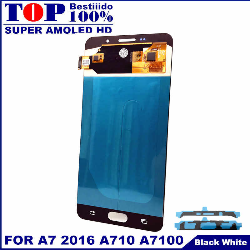 AMOLED شاشات LCD للهواتف المحمول لسامسونج غالاكسي A7 2016 A710 A7100 A710F A710M شاشة الكريستال السائل مجموعة المحولات الرقمية لشاشة تعمل بلمس ملصقا