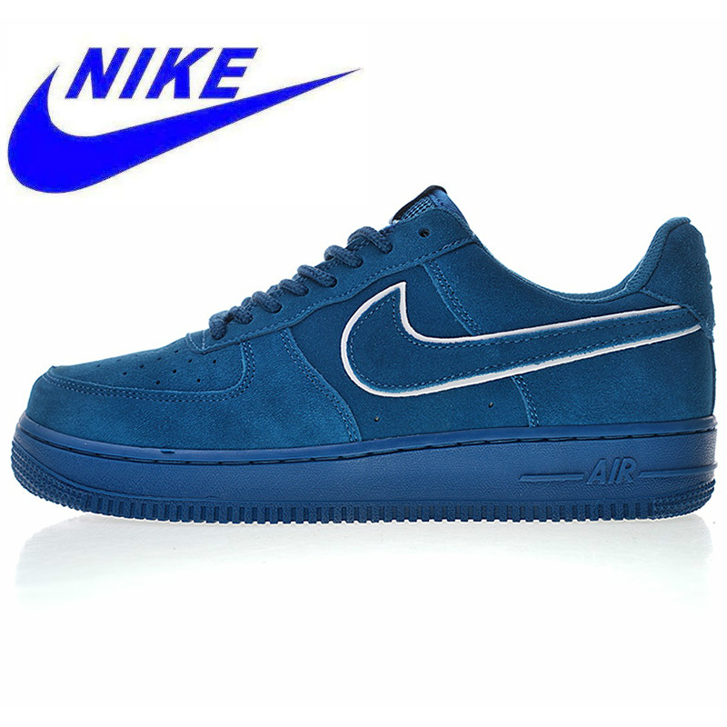 High Quality Nike Air Force 1 07 LV8 Suede Men's and Women's Skateboarding Shoes, Blue, Breathable Shock Absorption AA1117 400 in Skateboarding from