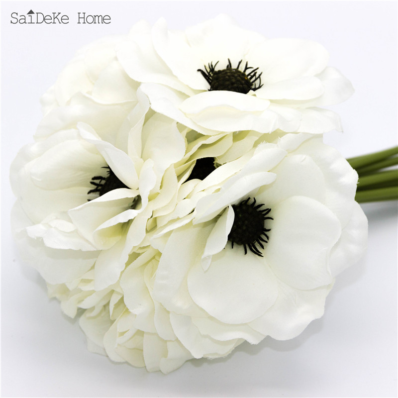 9PCS LOT Silk beautiful white Anemon Artificial flowers bouquet Home Furnishing decorative Simulation flower in Artificial Dried Flowers from Home Garden