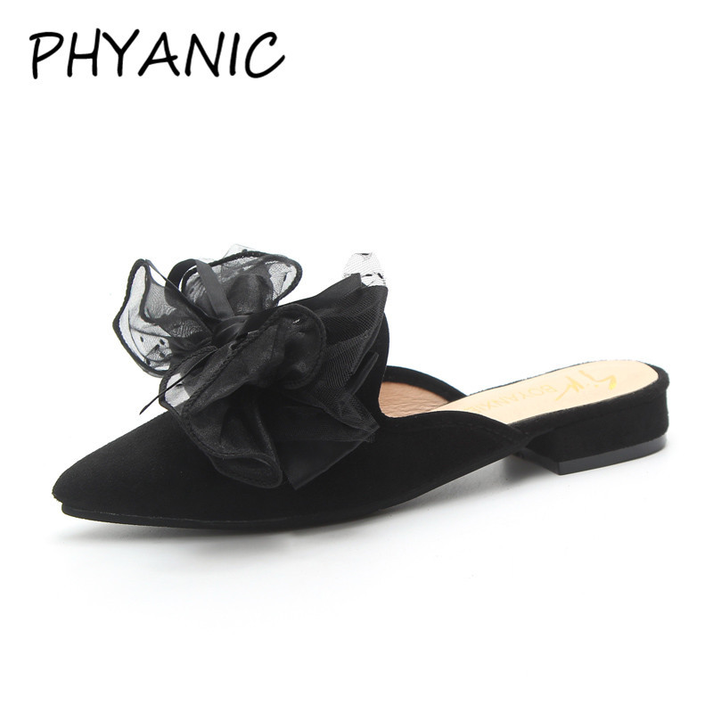 PHYANIC 2018 Flock Leather Fashion Pointed Toe Summer Slippers Sweet Bowtie Women Mules Low Heels Lady Pumps CAZ3129 new 2017 spring summer women shoes pointed toe high quality brand fashion womens flats ladies plus size 41 sweet flock t179
