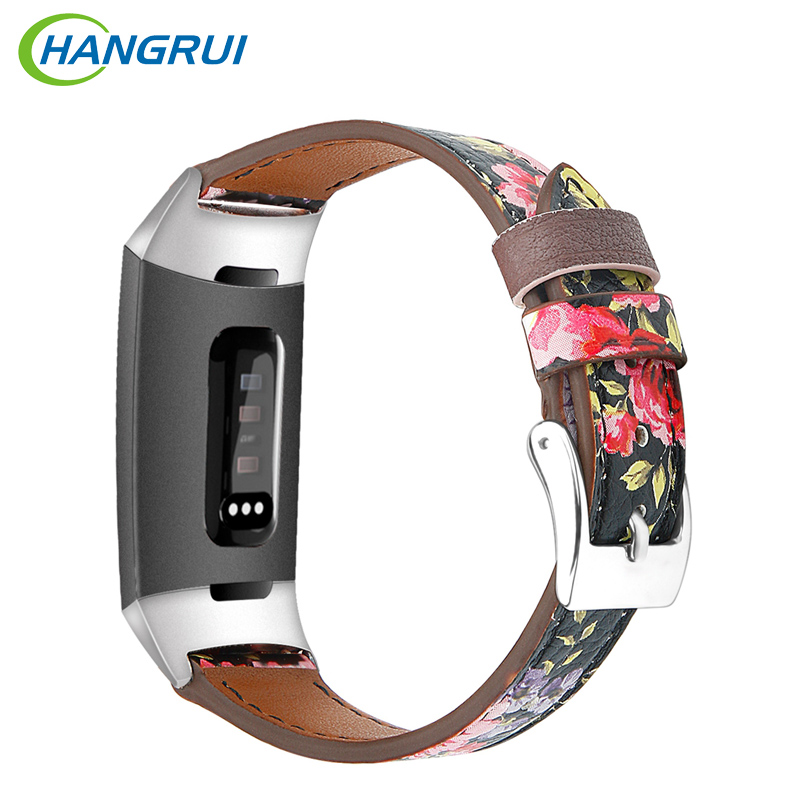 Hangrui Leather Fitbit Charge 3 Band For Fitbit Charge 3 Smart Watch Bands Fitness Tracker