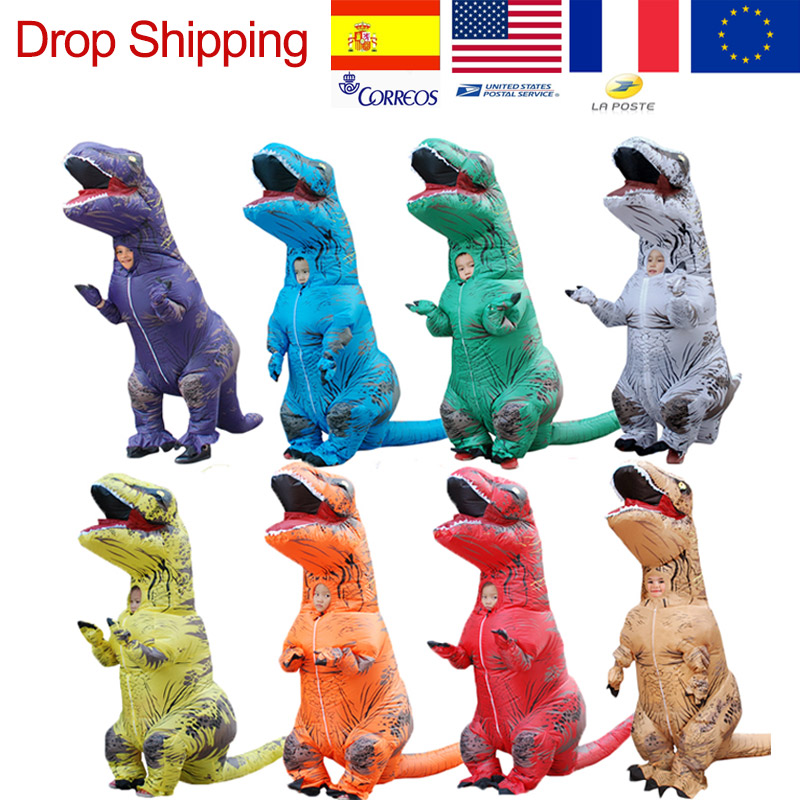 T-REX Costume For Children Kids Adults Jurassic World Mascot Inflatable Costume Halloween Dinosaur Anime Cosplay Party Show