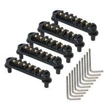 Yibuy 5 x Black Tune-O-Matic Roller Saddle Electric Guitar Bridge w/Posts & Spanner