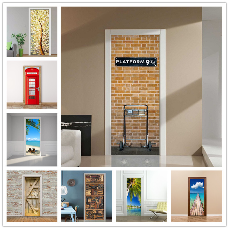 London Platform Sticker On The Door Self-adhesive Wallpaper For Door Diy Art Home Decor Mural Wardrobe Renovation Decal 77x200cm
