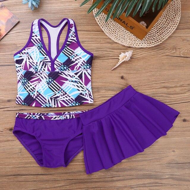 3Pcs/Set Girls Swimwear Tops with Bottoms Skirt Bikini Baby Bikinis Kids Swim Suit Printed Swimsuit Girl Bathing Swimming Suit
