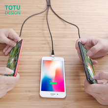 TOTU fast charging 3 in 1 cable for Android mobile phone USB iPhone X 8 7 6  charger Micro Usb line type C