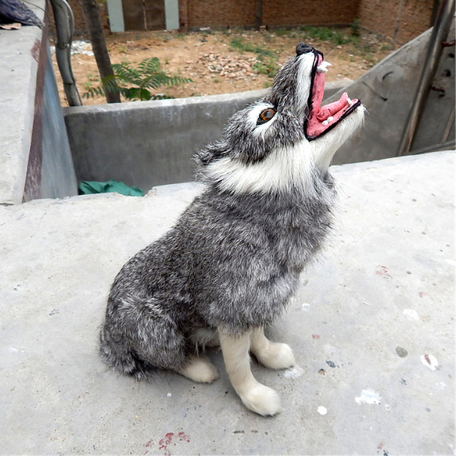 Fancytrader Simulated Animals Wolf Plush Toy Realistic Handmade Gray