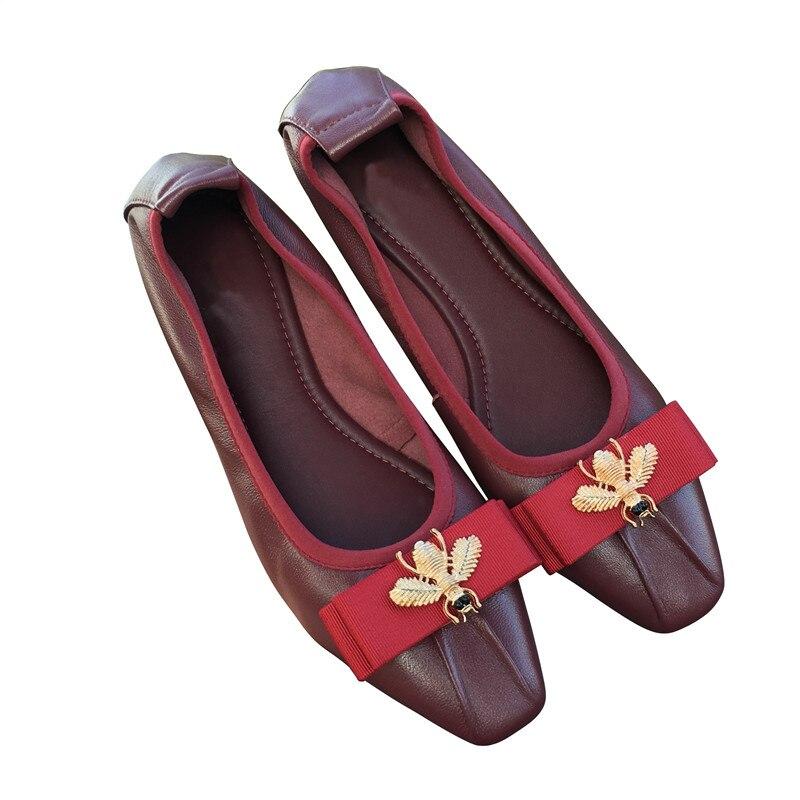 Confortable Mouton Gray Mujer wine Appartements Chaussures Véritable pink Black Pgxxzlx Fond Red Peau Zapatos Travail Mou Tous Ballet silver Pliable blue De Femmes wAHnq0Ig