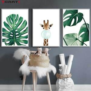 Image 4 - Cartoon Ballon Tiere Poster Druckt Moderne Green Leaf Leinwand Malerei Auf Die Wand Giraffe Koala Nordic Kunst Bilder Home Deco