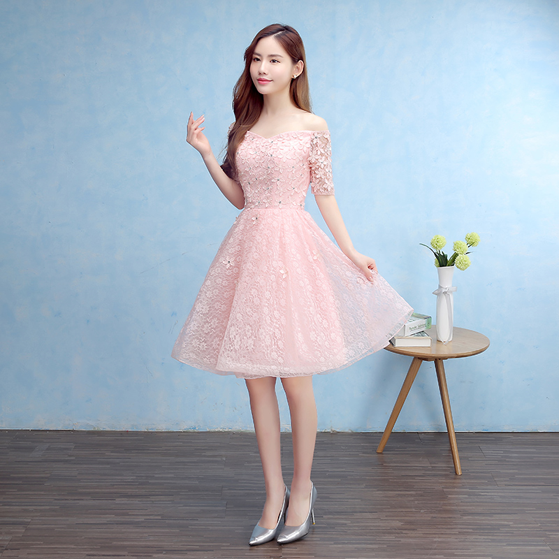 New Bridesmaid Dresses Elegant Off the Shoulder Bride Gown Short Sleeves Ball Prom Party Homecoming/Graduation Formal Dress