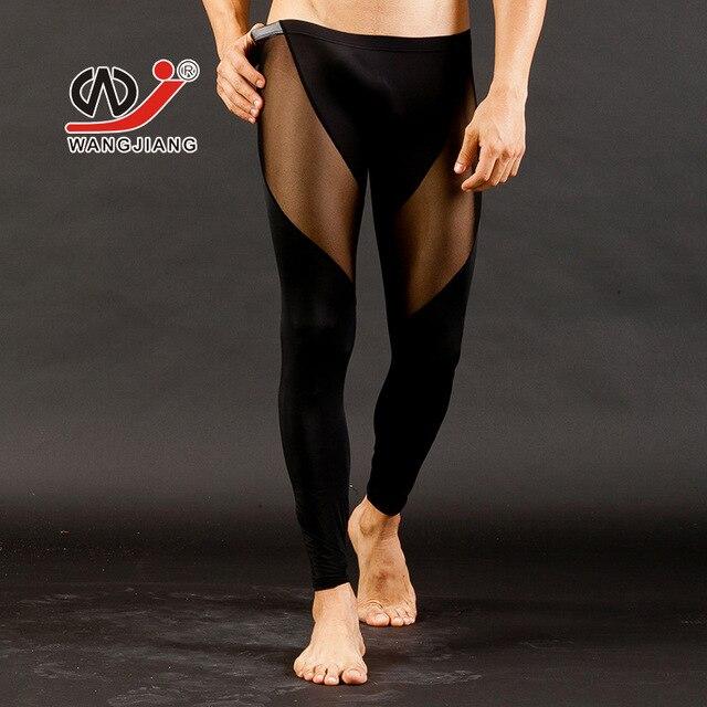 Neto WJ calzoncillos largos de Los Hombres sexy ropa interior transparente de gasa Ultra-delgado medias Leggings