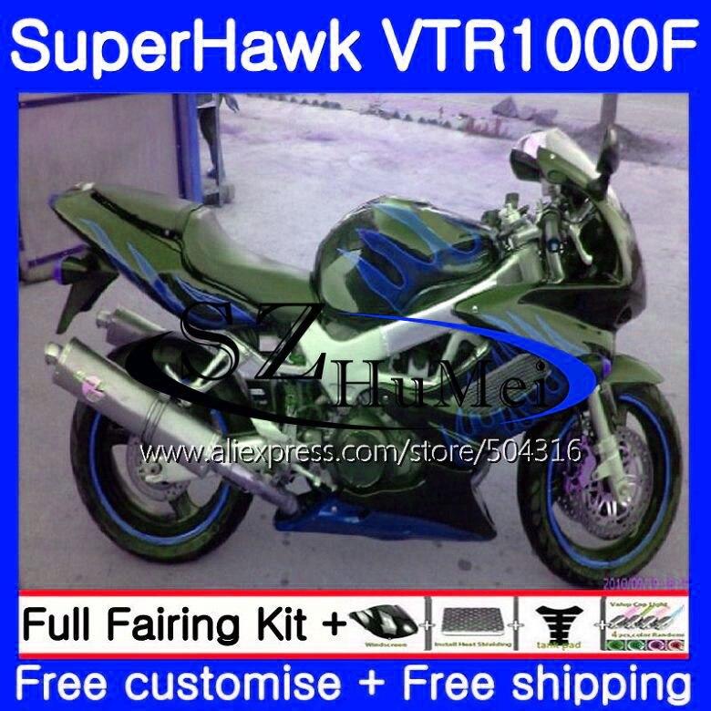 Комплект для HONDA Синий Пламя SuperHawk VTR1000F 97 02 03 04 05 108SH. 13 VTR1000 F VTR 1000F 1000 F 1997 2002 2003 2004 2005 обтекателя