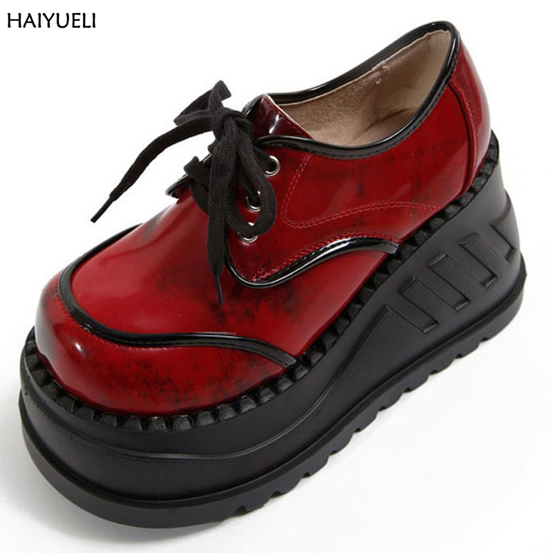 Classics Gothic Boots Wine Red And Black Genuine Leather Women Boots Fashion <font><b>Demoni</b></font>* Style Thick Bottom Lace Up Platform Boots