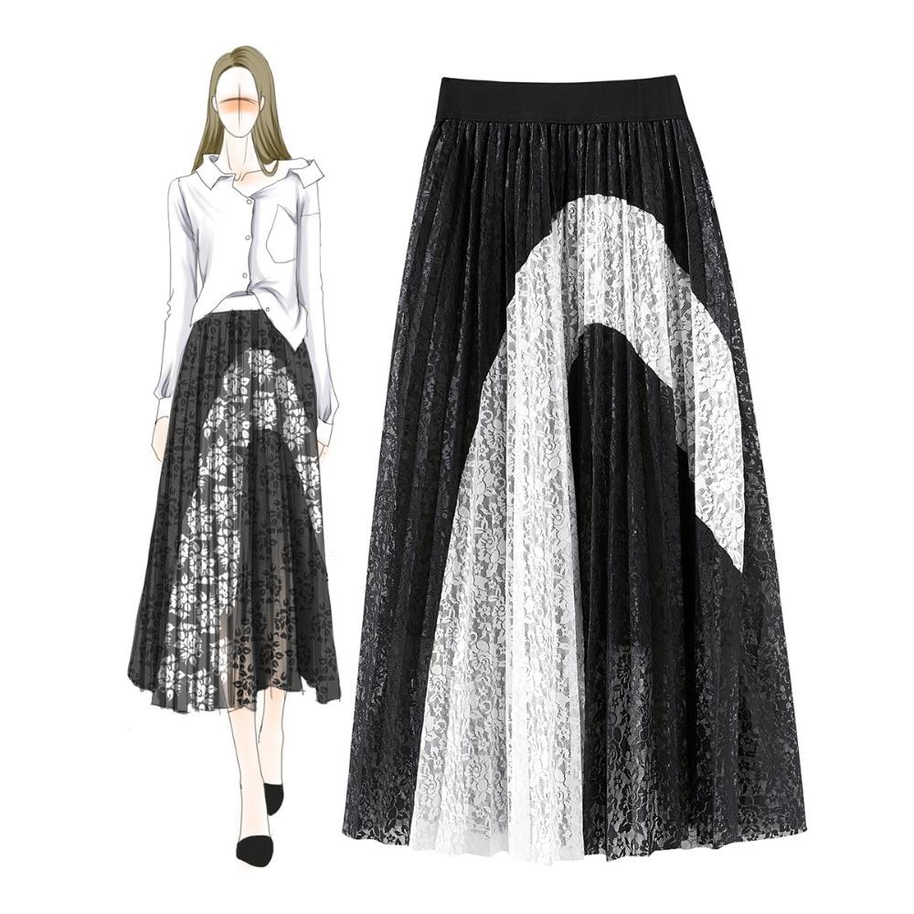 Chic Patchwork Mujer Negro Faldas Elegante A065 Verano De Encaje Blanco TFOpPWaq