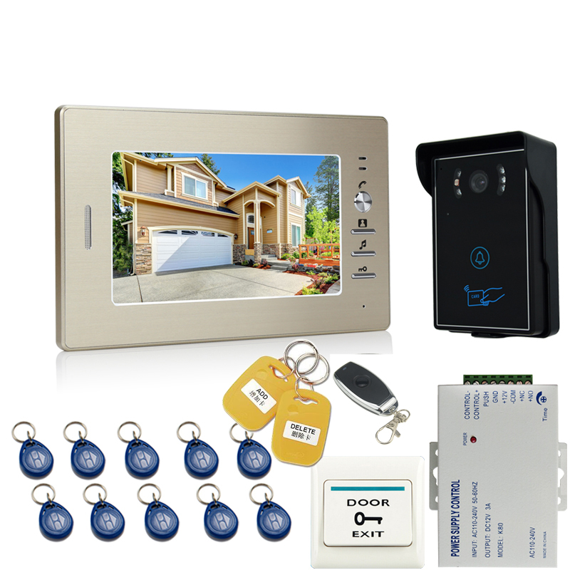 JEX 7 inch Video Door Phone Entry Intercom System 1 monitor+700TVL Touch Key Waterproof RFID Access Camera + Remote control jeruan home 7 inch lcd screen video door phone intercom system 1 monitor 700tvl rfid access camera remote control in stock