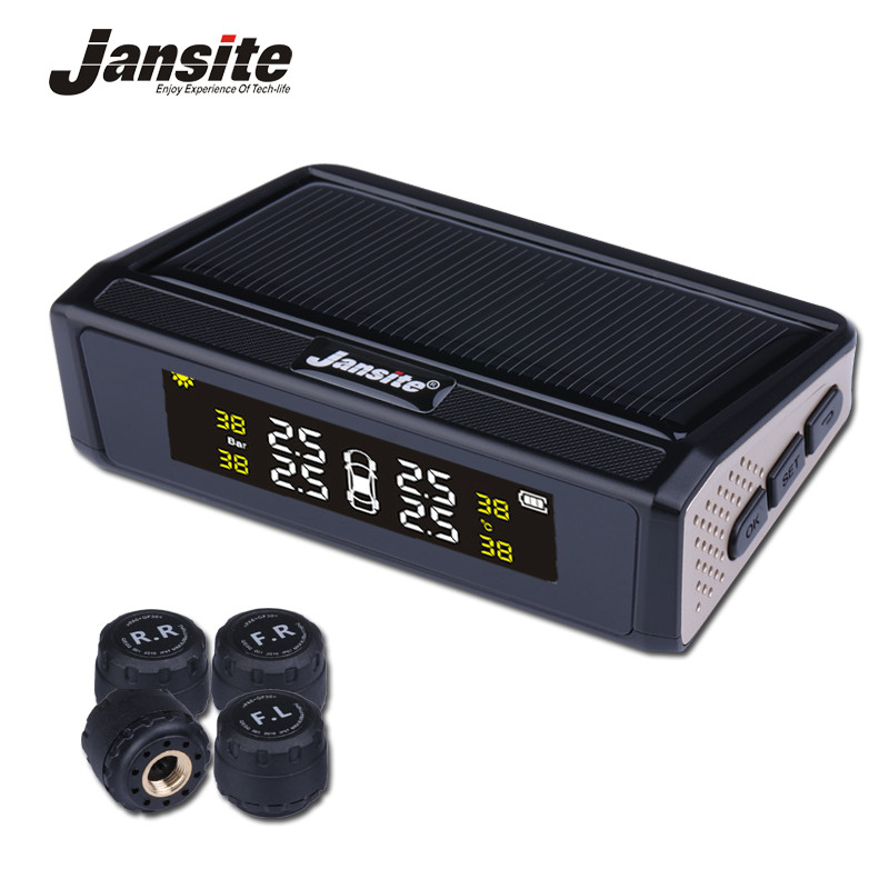 Jansite Solar TPMS Monitor de presión de los neumáticos de coche sistema inalámbrico 4 externa o interna sensores Color pantalla digital