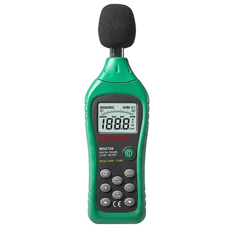 MASTECH MS6708 Handheld LCD Digital Display 30dB ~ 130dB Digital Sound Level Meter Noise Meter DB Decibel Level Meter Tester nktech ut353bt sound level meter digital bluetooth noise meter tester 30 130db decibel monitoring sound level meters