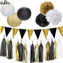 1 set Mixed Black Gold White Paper lantern Balloons Tissue Pom poms Wedding Birthday Baby Shower Graduation Party Decor