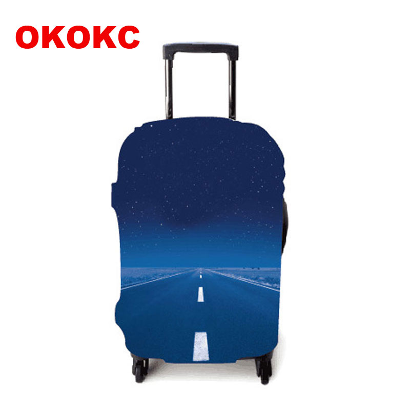 OKOKC Road Pattern Thicker Travel Luggage Suitcase Protective Cover Apply To 19''-32'' Suitcase Elastic Travel Accessories