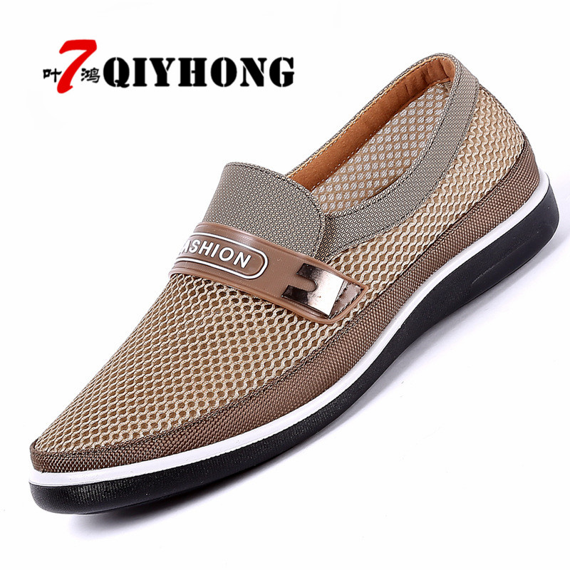 QIYHONG New Summer Mesh Shoes Men Slip-On Flat Sapatos Hollow Out Comfortable Father Shoes Man Casual Moccasins Basic Espadrille