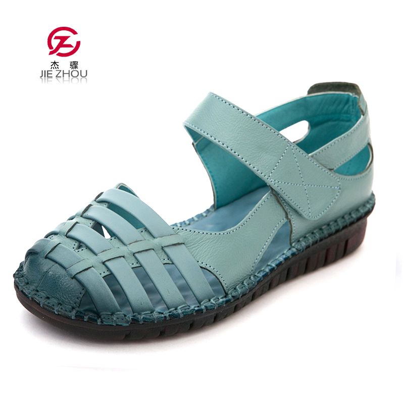 Summer Shoes Woman Closed Toe Flat Sandals Fashion Genuine Leather Cut Out Gladiator Sandals Soft bottom