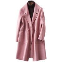 Элегантный бежевый, розовый верблюжьей шерсти женские теплые зимние пальто 2018 женский Xlong пальто шерстяные женские офисное пальто леди сво