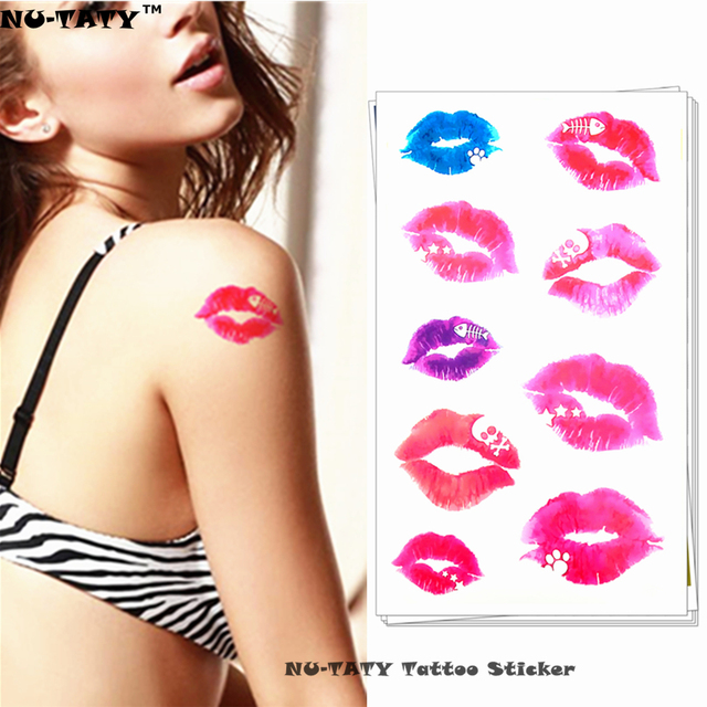 Nu-TATY Sexy Hot Lips Temporary Tattoo Body Art Arm Flash Tattoo Stickers 17x10cm Waterproof Fake Henna Painless Tattoo Sticker