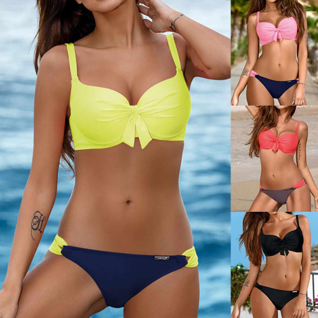 Для женщин Бандаж бандо Бикини Набор пуш-ап бразильский пляжная одежда купальники купальник