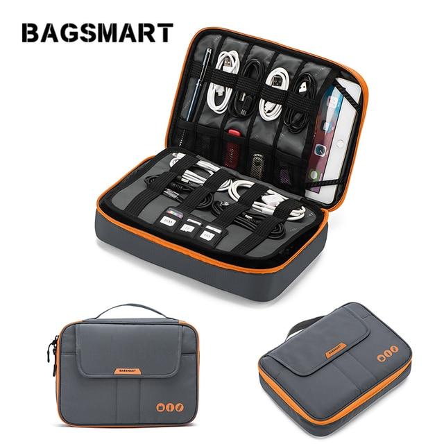 BAGSMART אוניברסלי נסיעות כבל ארגונית אלקטרוניקה אביזרי לשאת תיק עבור 9.7 אינץ iPad, קינדל, כוח מתאם