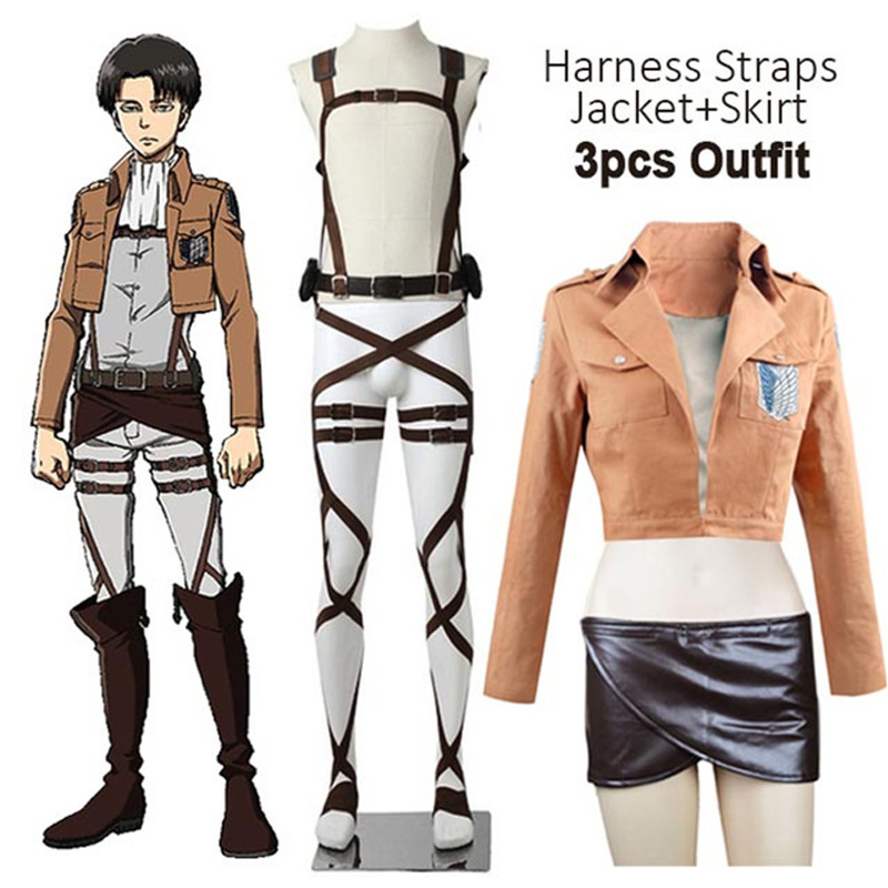 New Anime Attack On Titan Cosplay Shingeki No Kyojin Jacket Recon Corps Leather Skirt Hookshot Belts Suspenders Ackerman Costume