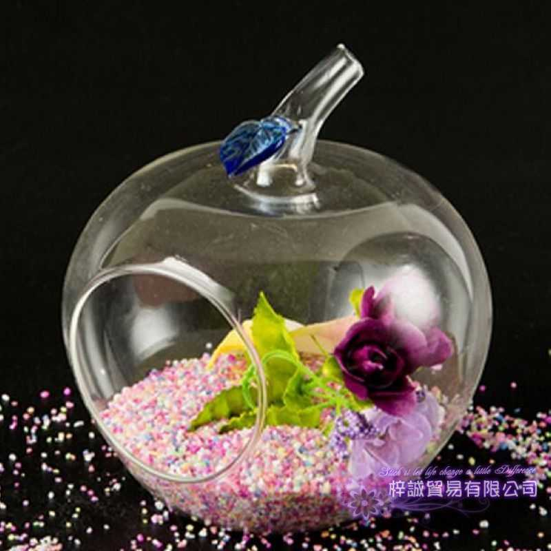 1pc Apple Glass Flower Vase Christmas  Dinner Planter Terrarium Container Hydroponic Pot Home Wedding Decor Candlestick