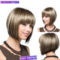 Women short wigs New Synthetic Bob Wigs Short Straight Highlight Hair Blonde Bobo Wig For Women Glamorous Fashion Free Wig Cap