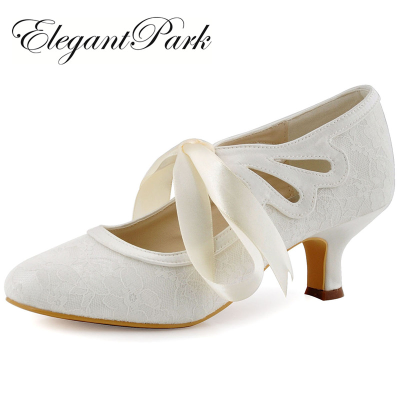 Women Wedding Shoes White Ivory Close Toe Mary Jane Mid Heel Lace up Bride Lady Prom